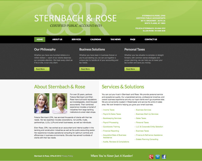 Sternbach And Rose, CPAs - Website by Clementyne Design